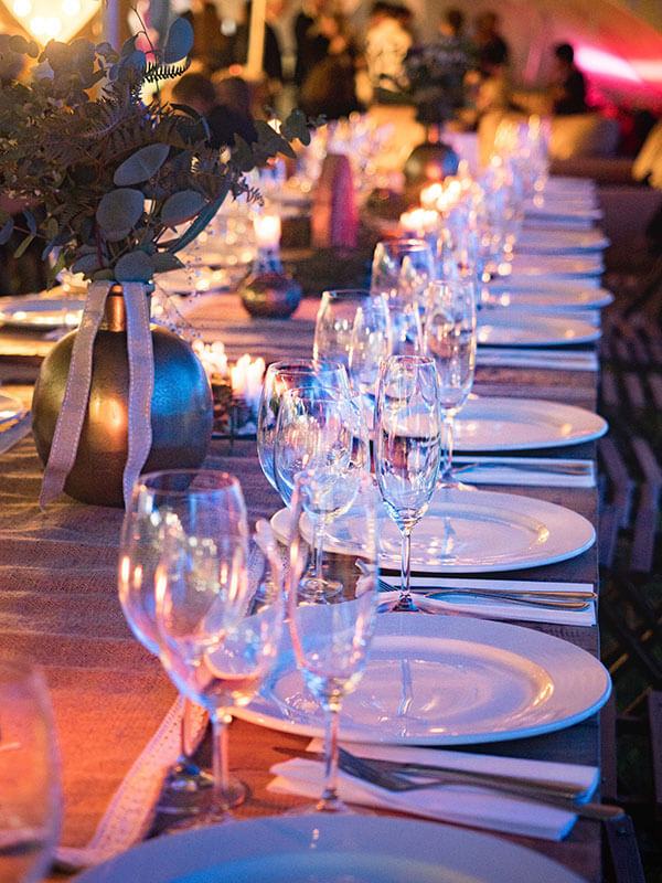 Banquet with wine glasses